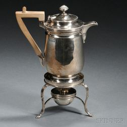 George V Sterling Silver Chocolate Pot on Warming Stand
