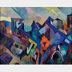 Leighton Cram (American, 1895-1981)      Abstract Landscape with Houses