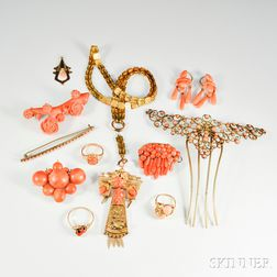 Group of Coral Jewelry and Accessories
