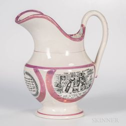 Sunderland Pink Lustre Black Transfer-printed Pitcher