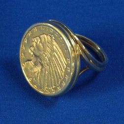 1914 Liberty Indian Head Five-Dollar Coin Mounted as a Ring.