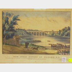 Framed N. Currier Hand-colored Lithograph The High Bridge at Harlem.