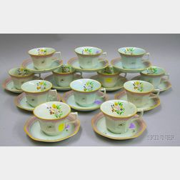 Set of Twelve Adams Calyx Ware Cups and Saucers.
