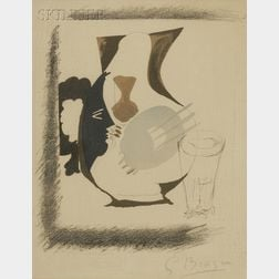After Georges Braque (French, 1882-1963)      Lot of Two Still Lifes: Verre et pichet