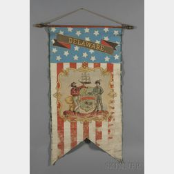Polychrome-painted Centennial Banner Depicting the State Seal of Delaware