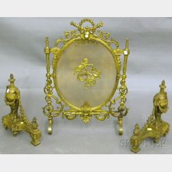 Pair of Louis XVI-style Cast Brass Chenet and Cast Brass and Wire Fireplace   Screen
