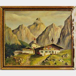 German School, 20th Century      Alpine Church in Summer