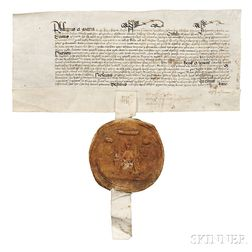 Mary I, Queen of England (1516-1558) Signed Land Deed with Great Seal, c. 1554.