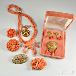 Group of Victorian Coral Jewelry