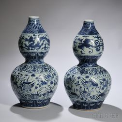 Pair of Blue and White Bottle Vases