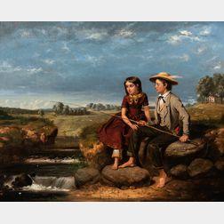 Junius Brutus Stearns (American, 1810-1885)      Children Fishing