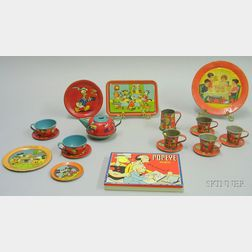 Group of Lithographed Tin Disney and Other Play Dishes, Trays and Paint Box