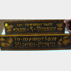 "Pair of Victorian Painted Amber Glass Panels ""In Memoriam, Jane A. Tenney"" and   ""In Memoriam, Elijah Fitch,"""