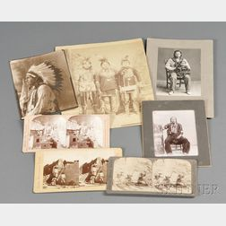Three Southwest Stereoviews and Four Photographs of American Indians