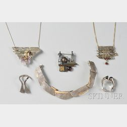 Group of Mixed-metal Modernist Jewelry