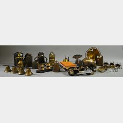 Large Collection of Metal Bells and Related Reference Books