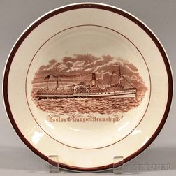 Boston Bangor Steamship Co. Transfer-decorated Ironstone Dining Room Soup Plate