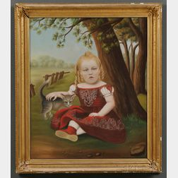 American School, 19th Century      Portrait of a Young Girl in a Landscape with Her Tabby Cat.