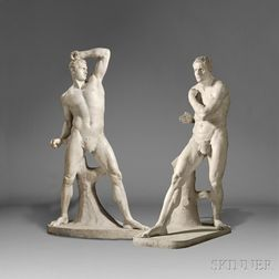 After Antonio Canova (Italian, 1757-1822)       Pair of Carrara Marble Figures of the Pugilists Creugas and Damoxenos