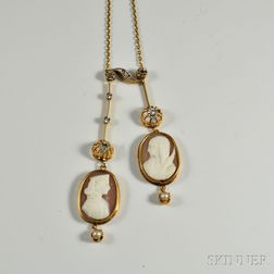 18kt Gold, Diamond, and Shell Cameo Necklace