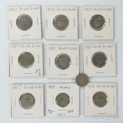 Ten Shield Nickels
