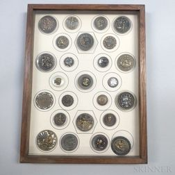 Framed Group of Stamped Metal Buttons