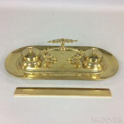 Large Brass Inkstand and Artamount Brass Ruler