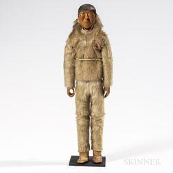 Eskimo Carved Wood Doll