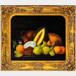 American School, 19th Century      Still Life with Fruit, Porcelain Dish, and Copper Jug.
