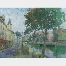 Constantine Kluge (French/Russian, b. 1912)  Le Quai des Orferree