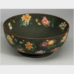 Wedgwood Enamel Decorated Black Basalt Bowl