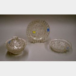 Sandwich Colorless Pressed Lacy Glass Covered Sugar, a Bowl, and a Plate