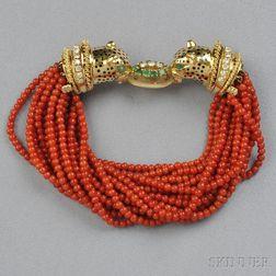 18kt Gold, Enamel, and Coral Bracelet
