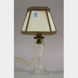 KPM Lithophane Five-Panel Shade on a Sandwich Glass Colorless Fluid Table Lamp