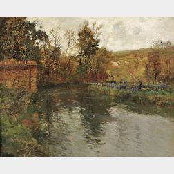 Frits Thaulow (Norwegian, 1847-1906)      Autumn River Scene, Probably the Netherlands or Belgium