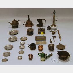 Thirty-one Miniature Tin, Pewter, and Other Metal Household Items