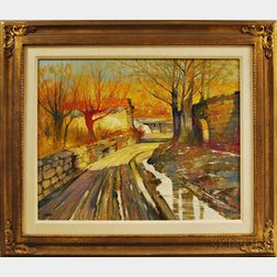 Albert Handell (American, b. 1937)      Autumn Landscape with Curved Road