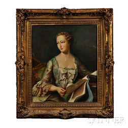 Continental School, 18th Century Style    Portrait of a Lady in Blue Holding an Album