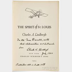 Lindbergh, Charles (1902-1974) Spirit of St. Louis,   First Edition, Signed Copy.