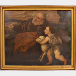 Continental School, 17th Century Style      Infant St. John the Baptist with Lamb and Elder, Possibly Zechariah