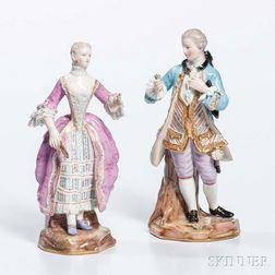 Pair of Meissen Porcelain Figures
