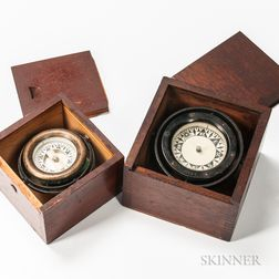 Two Cased Gimbaled Ship's Compasses