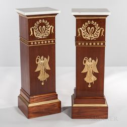 Pair of Neoclassical-style Marble-top Ormolu-mounted Tulipwood-veneered Pedestals