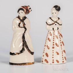 Two Staffordshire Creamware Figures of Women
