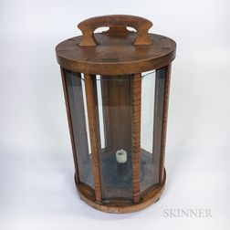 Glazed Tiger Maple Light Keeper's Lantern