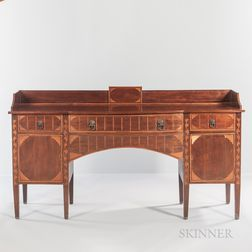 Georgian Serpentine-front Mahogany-veneered and Inlaid Sideboard