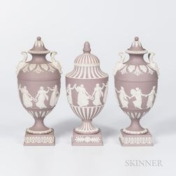 Three Wedgwood Solid Lilac Jasper Vases and Covers