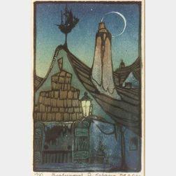 Richmond Irwin Kelsey (American, b. 1905)  Cottage Rooftop by Moonlight