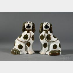 Pair of Staffordshire Pearlware Spaniel Figures