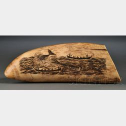 Scrimshawed Whale's Tooth with Whaling Scene